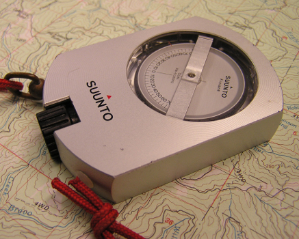 clinometer for measureing trail grades and topo map- trail science