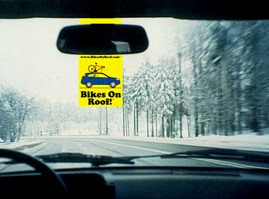 bikes on roof hang tag on rearview mirror